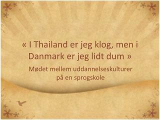 « I Thailand er jeg klog, men i Danmark er jeg lidt dum »