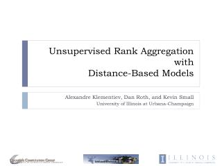 Unsupervised Rank Aggregation with Distance -Based Models