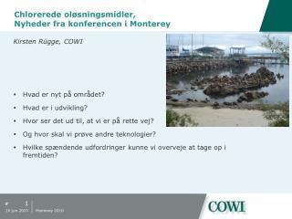 Chlorerede oløsningsmidler , Nyheder fra konferencen i  Monterey