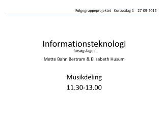 Informationsteknologi forsøgsfaget Mette Bahn Bertram & Elisabeth Husum