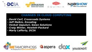 CHANGES IN CLOUD COMPUTING  David Cerf, Crossroads Systems  Jeff Malkin, Encoding