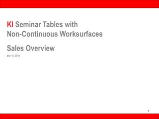 KI Seminar Tables with           Non-Continuous Worksurfaces  Sales Overview Mar 12, 2010