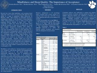Mindfulness and Sleep Quality: The Importance of Acceptance