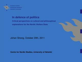 Johan  Strang ,  October  20th, 2011