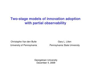 Two-stage models of innovation adoption with partial observability