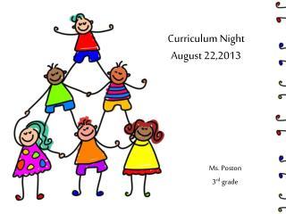 Curriculum Night August 22,2013