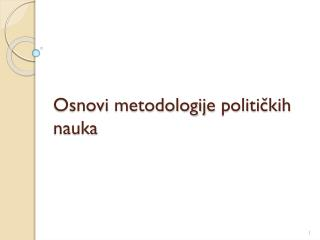 Osnovi m etodologij e politi čkih nauka