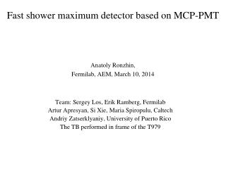 Fast shower maximum detector based on MCP-PMT