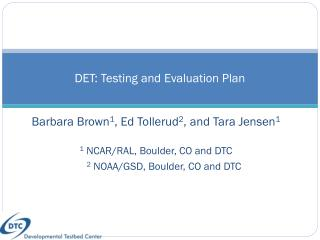 DET: Testing and Evaluation Plan