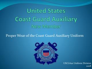 United States  Coast Guard Auxiliary  New Member