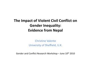 The Impact of Violent Civil Conflict on Gender Inequality: Evidence from Nepal