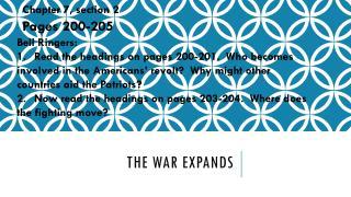 The war Expands