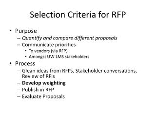 Selection Criteria for RFP