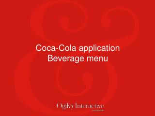 Coca-Cola application  Beverage menu