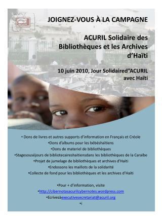 Dons de  livres  et  autres  supports  d'information  en  Français  et  Créole
