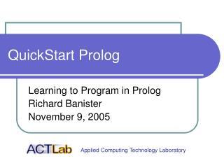 QuickStart Prolog