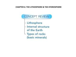 CHAPTER 6: THE LITHOSPHERE & THE HYDROSPHERE