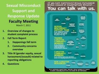 Sexual Misconduct Support and Response Update  Faculty Meeting March 7, 2011