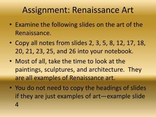 Assignment: Renaissance Art
