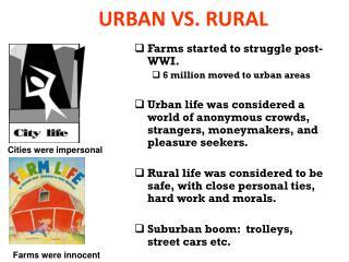 URBAN VS. RURAL