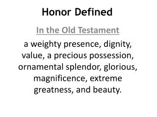 Honor Defined