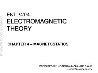 EKT 241/4: ELECTROMAGNETIC THEORY