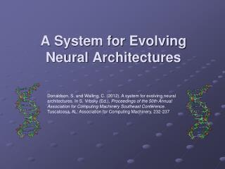 A System for Evolving Neural Architectures