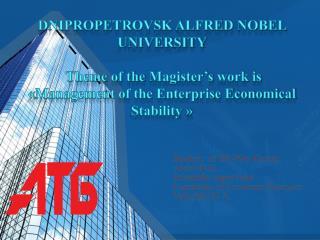 Student  of  EE -09 m Group Aleko N . G . Scientific supervisor