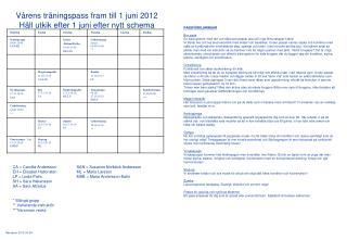 Vårens träningspass  fram till 1 juni 2012 Håll utkik efter 1 juni efter nytt schema