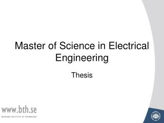 Master of Science in Electrical Engineering