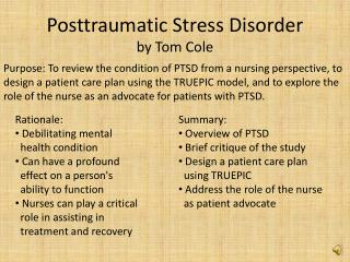 Posttraumatic Stress Disorder by Tom Cole