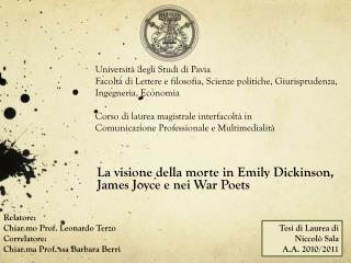 La visione della morte in Emily Dickinson, James Joyce e nei War  Poets