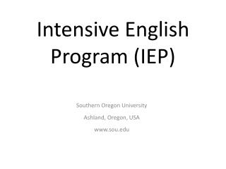 Intensive English Program (IEP)
