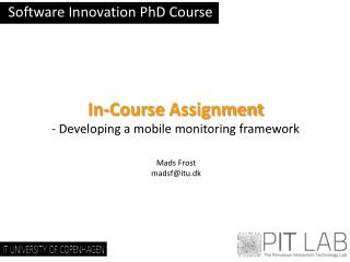 Software Innovation  PhD  Course