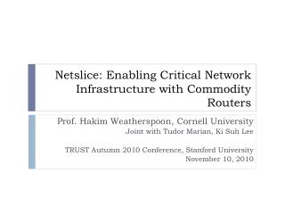 Netslice : Enabling Critical Network Infrastructure with Commodity Routers