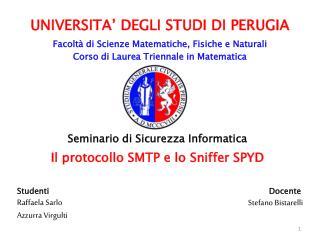 UNIVERSITA' DEGLI STUDI  DI  PERUGIA