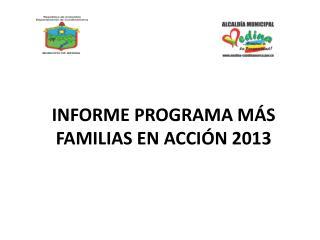 INFORME PROGRAMA MÁS FAMILIAS EN ACCIÓN 2013