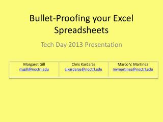 Bullet-Proofing your Excel Spreadsheets