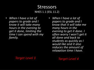 Stressors NHES 1.1 (ESL 11.2)