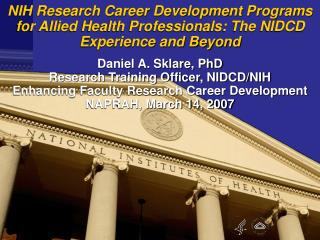 NIH Research Career Development Programs for Allied Health ...