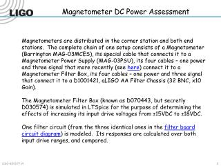 Magnetometer DC Power Assessment