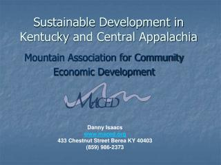 Sustainable Development in  Kentucky  and Central Appalachia