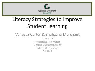 Literacy Strategies to Improve Student Learning