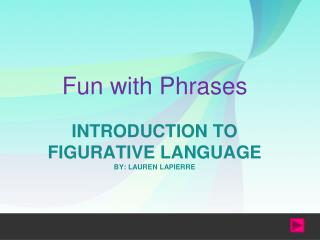 INTRODUCTION TO FIGURATIVE LANGUAGE BY: LAUREN LAPIERRE