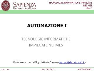 AUTOMAZIONE I
