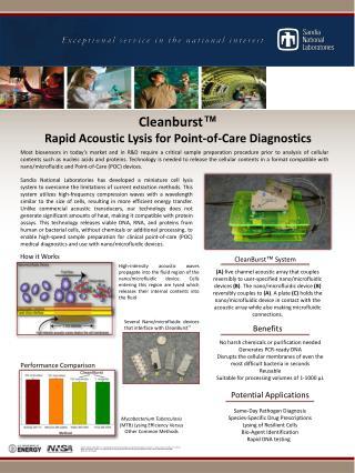Cleanburst ™ Rapid Acoustic Lysis for Point-of-Care Diagnostics