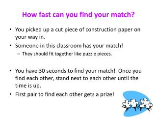 How fast can you find your match?