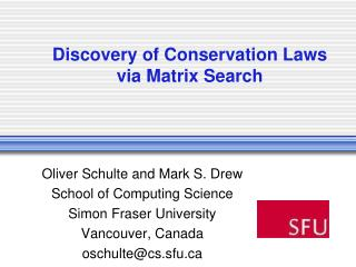 Discovery of Conservation Laws via Matrix Search