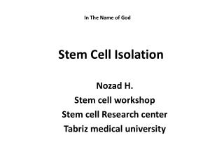 Stem Cell Isolation