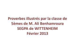 Proverbes illustrés par la classe de 5èmes de M. Ali  Benhamroura SEGPA de WITTENHEIM Février 2013